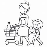 Vector Shopping Cart Clip Son Icon Customer Grocery Loyalty Line Mother Program Illustrations Background Similar sketch template