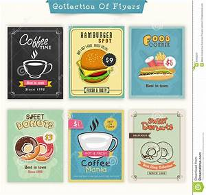 Collection Of Food And Drinks Flyers. Stock Illustration ...