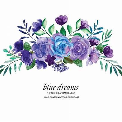 Purple Watercolor Flower Roses Clipart Arrangement Clip