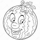 Coloring Cartoon Watermelon Fruit Drawing Sketch Symbol Character Patches Freehand Element Labels Stickers Icon Depositphotos Druck Essen Wassermelone Malvorlage Malbuch sketch template