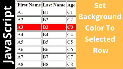 html color table javascript change selected html table row background