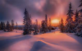 Winter Mountain Sunset Desktop