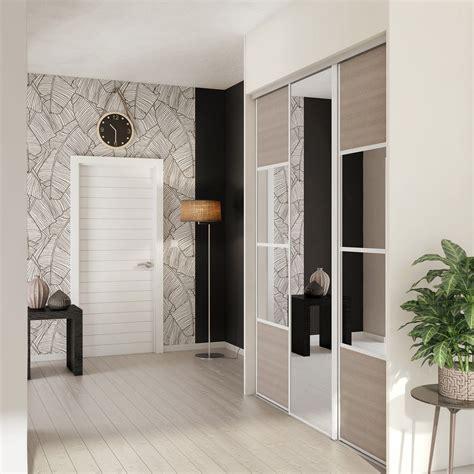 porte placard coulissant leroy merlin porte de placard coulissante magnolia miroir spaceo l 67 x h 250 cm leroy merlin