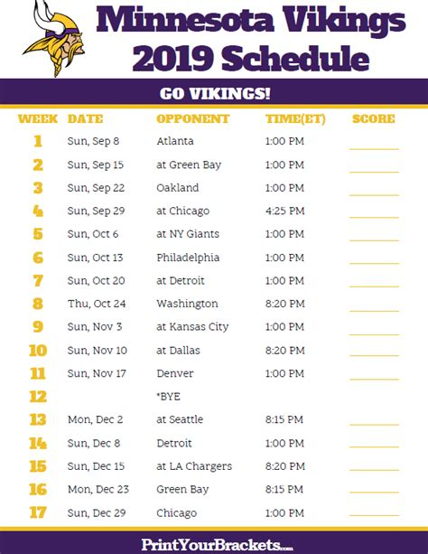 printable minnesota vikings schedule  season