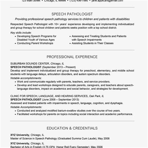 Slp Resume Exles by Inspiration For Your Speech Pathologist Resume And Cover