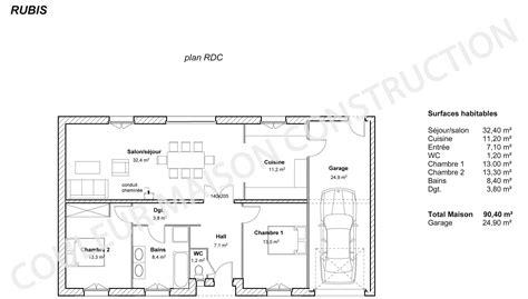modele maison plain pied 3 chambres awesome plan maison plain pied couleur maison le plan de