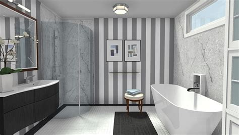 Elegant Modern Black & White Bathroom With Marble Accents