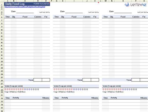 printable daily food log calorie log food nutrition log