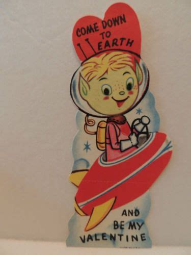 vintage valentine card space alien martian outer space