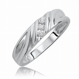 1 10 ct tw diamond his and hers wedding rings 10k white With his and hers white gold wedding rings
