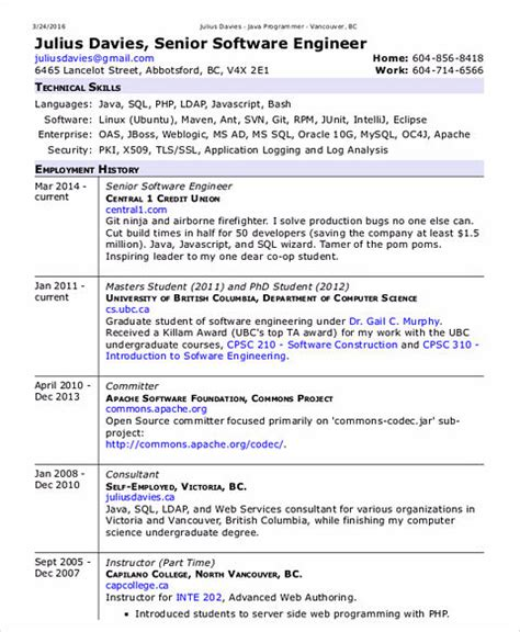 Resume Template For Experienced Software Engineer by Software Engineer Resume Sle And Tips