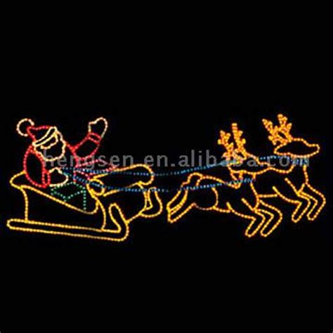 santa sleigh and reindeer christmas lights display