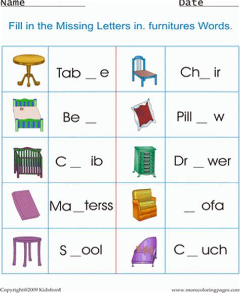 printable furniture worksheet coloring worksheets