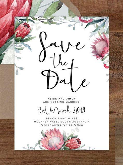protea save  date card printable save
