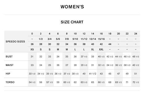 Speedo Size Chart Arenda Stroy