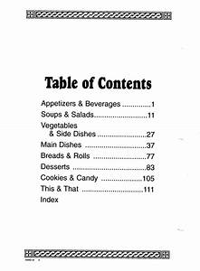 Cookbook sections free printable table contents template for Cookbook table of contents template