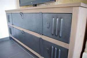 Meuble Tv Casier Industriel : meuble tv buffet bois metal industriel sur artisanale ~ Nature-et-papiers.com Idées de Décoration