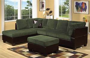 Olive grey green corduroy sectional sofa couch ebay for Green corduroy sectional sofa