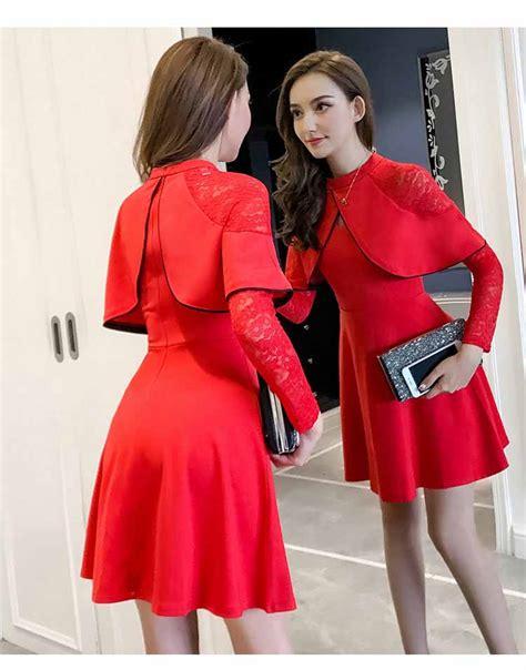 dress wanita kombinasi brukat merah  jual model