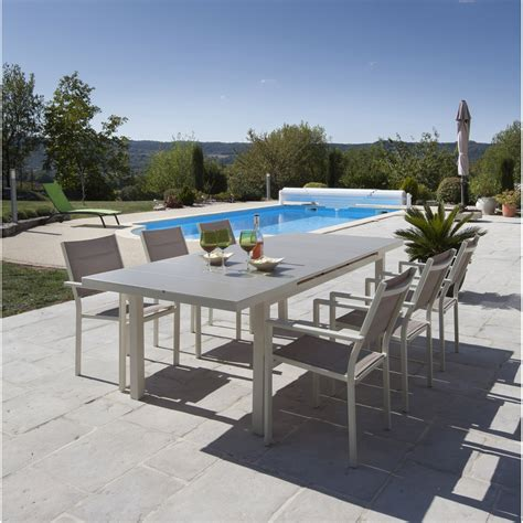 salon de jardin malaga aluminium taupe 1 table et 6 fauteuils leroy merlin