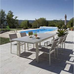 salon de jardin malaga aluminium taupe 1 table et 6 With table de jardin aluminium leroy merlin 3 table de jardin rectangulaire en bois
