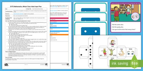 * New * Eyfs Maths Count The Action Dice Activity Whole Class