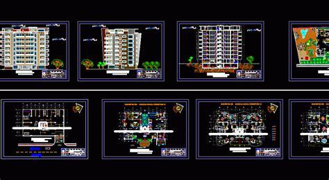 apartment building  levels  dwg design plan  autocad