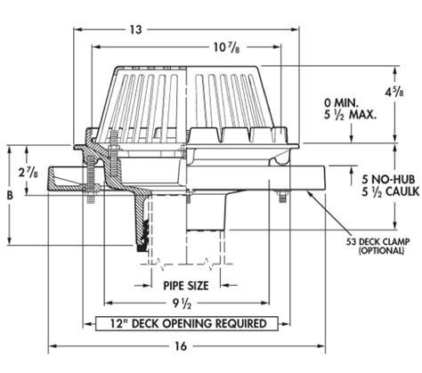 wade floor drain extension wade roof drains parts and specifications