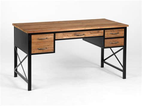 steel bureau bureau en métal et bois avec 4 tiroirs longueur 146cm clayton
