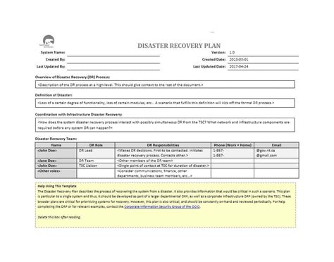 Disaster Recovery Plan Template 52 Effective Disaster Recovery Plan Templates Drp