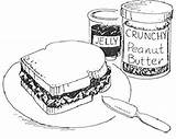 Peanut Butter Sandwich Coloring Drawing Jelly Pages Clipart Cliparts Peanuts Reeses Clip Jam Sandwiches Printable Sweet Sketch Print Drawings Library sketch template