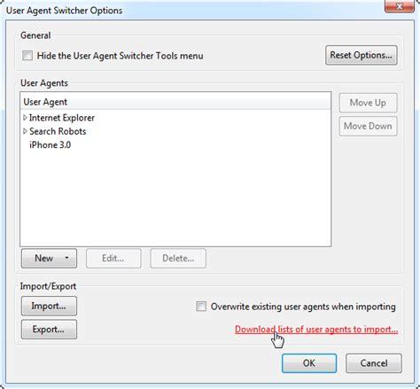user agents websites mobile browser import agent manually rather string enter would lists