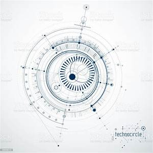 Mechanical Scheme Vector Engineering Drawing With Circles