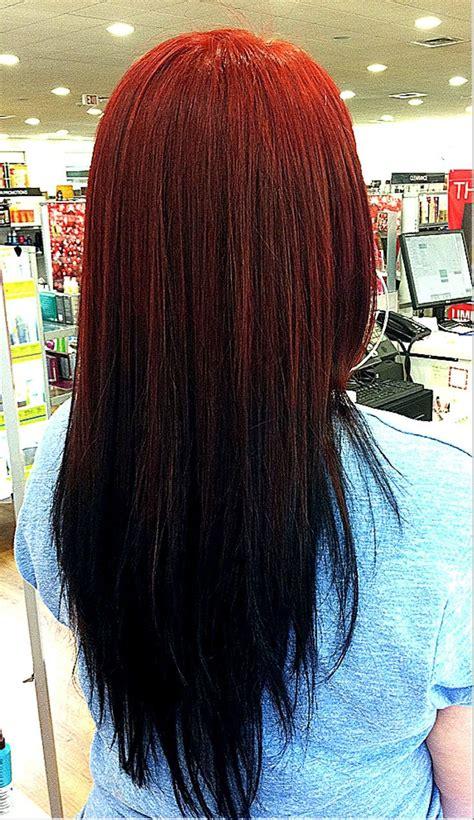 Reverse Ombre Auburn To Black Hair Pinterest
