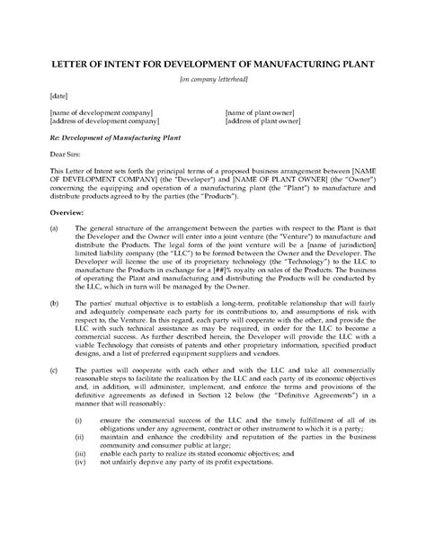 letter  intent  manufacturing joint venture legal