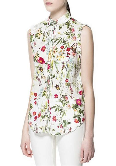 cotton blouses multicolor floral print buttons lapel sleeveless cotton