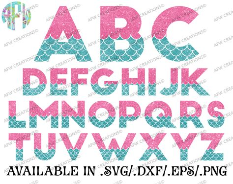 Digital Cut Files Mermaid Letters Svg Dxf Eps Alphabet