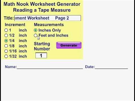 reading a measure reading a tape measure worksheet generator youtube