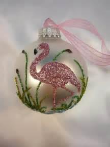 pink flamingo glitter ornament florida christmas flamingo on white glass ball