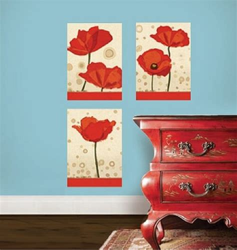 wallies poppies wall stickers  decals flower mural panels