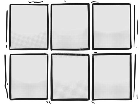 Comic Strip Six Grey Panels Box Halftone Cartoon Template