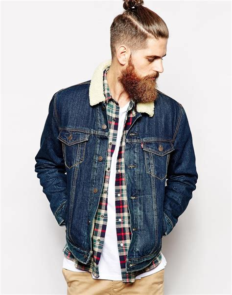 Levis Denim Jacket Good Sherpa Trucker Dark Wash at asos.com