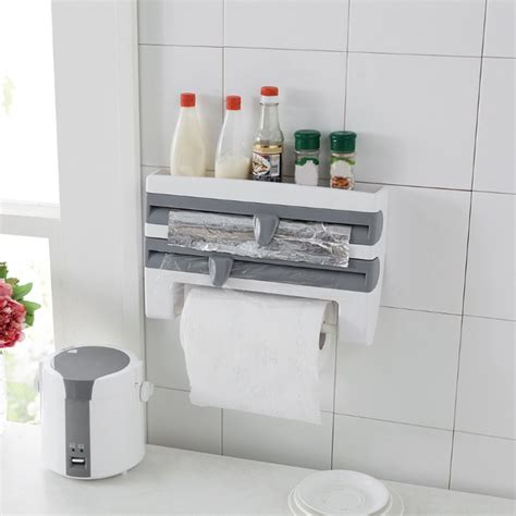 4in1 Kitchen Organizer Wall Mounted Rackdispensershelf