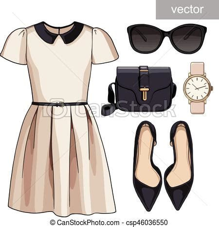 Lady fashion set of spring summer season outfit. illustration stylish and trendy clothing ...