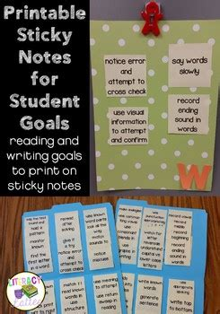 printable sticky notes  student goals editable