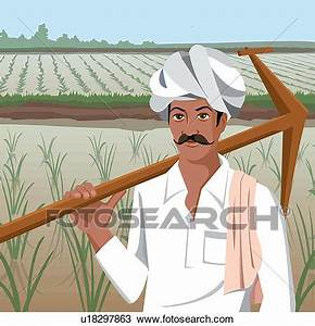 Drawing of Front view of a farmer holding plow u18297863 ...
