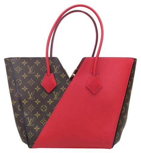 louis vuitton monogram kimono canvas brown red tote bag