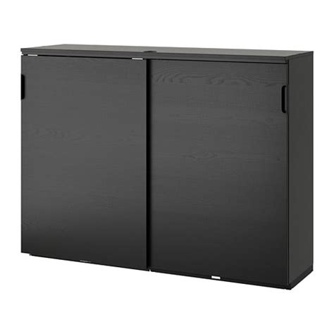 Ikea Sliding Door Cabinet by Galant Cabinet With Sliding Doors Black Stained Ash