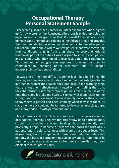 write  occupational therapy personal statement