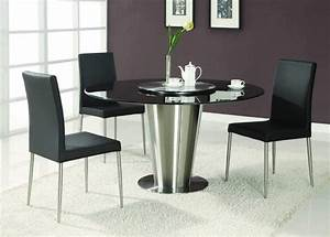 modern exclusive round marble top leather 5 piece dining With round modern dining room sets